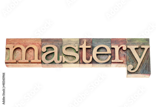mastery word in wood  type