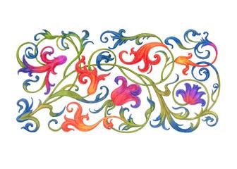 Растительный орнамент, стилизация под старинный арабеск.