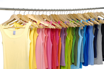 Set of colorful shirt rack