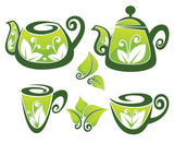 vector collection of decorated teapot and cup in organic style