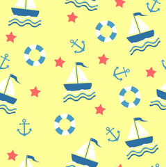 Marine theme. Yellow-Blue sea seamless