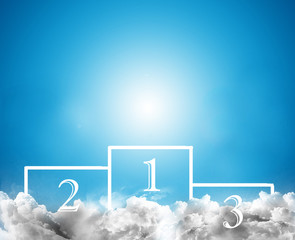 Place of the winner podium with blue sky background