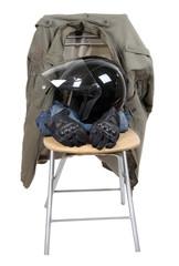 Clothes and moto helmet