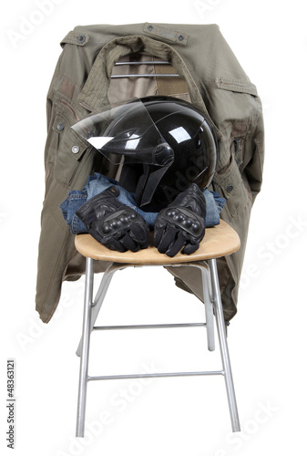 Clothes and moto helmet