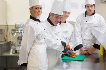 Trainee Chef's learning to cut vegetables