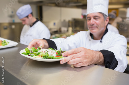 Chef inspecting salad plate
