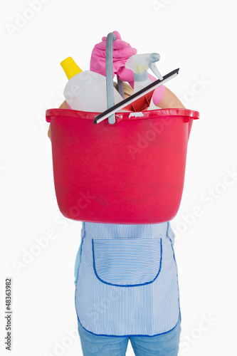 Maid showing a pink bucket