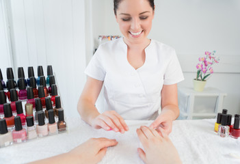 Manicure treatment at nail spa