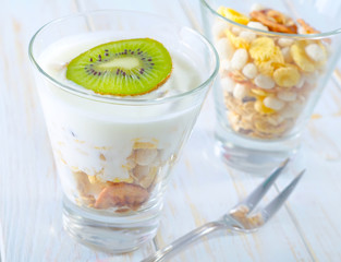 fresh yogurt and muesli in a glass