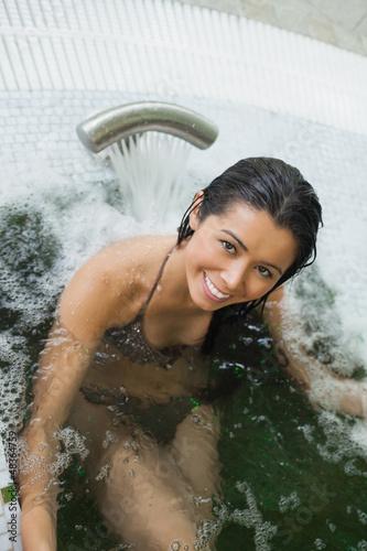 Woman enjoying the hydrotherapy pool