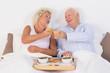 Aged couple toasting with orange juice