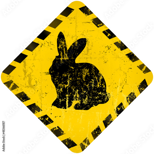 easter bunny warning sign, vector illustration