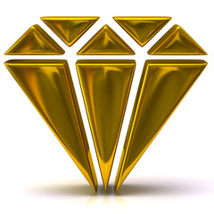 3d illustration of gold diamond icon