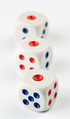 ordered set of dice game, isolated on white background