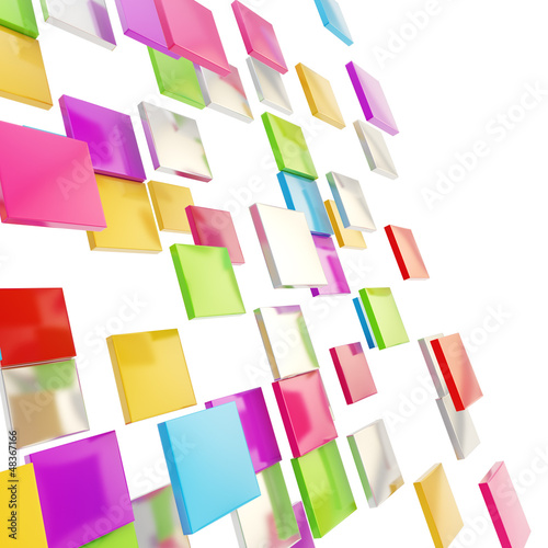 Abstract background made of glossy square plates