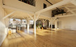 interior wide loft, beams and wooden floor