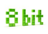 Pixel art 8 bit. 3d text isolated