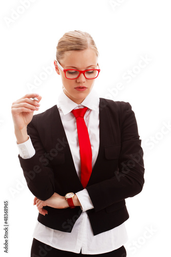 seriously businesswoman holding pen