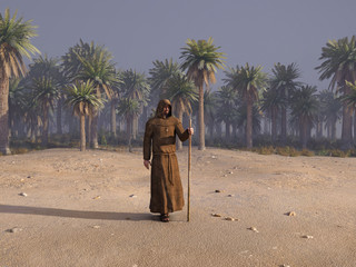 Jesus Christ journey in desert