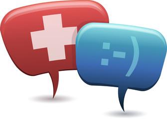 Personnages bulle et consultation médicale