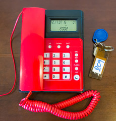 Red telephone and a key room