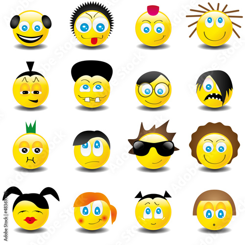 Smilies Smiley Emoticon faces icon set 4