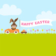 """Bunny Meadow Car Easter Eggs Banner """"Happy Easter"""""""