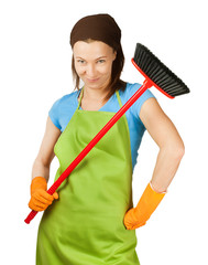 sceptic woman with broom