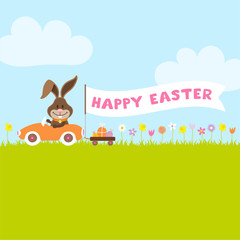 "Bunny Meadow Car Easter Eggs Banner ""Happy Easter"""