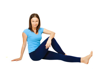 exercising woman isolated on white