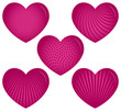 Five Pink Hearts with Patterns