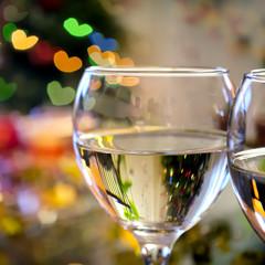 Glasses of wine on Valentine's Day