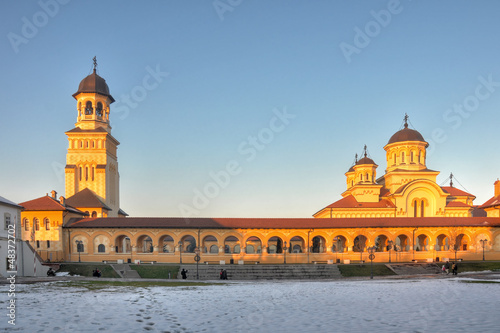 Coronation Cathedral at sunset, Alba Iulia fortress