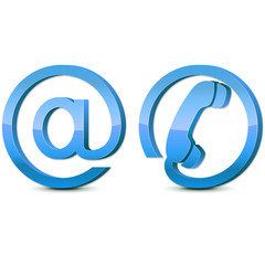 3d blue glossy icons email and phone, set