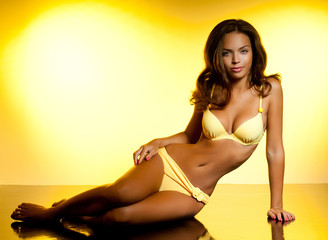 tanned brunette with a gorgeous figure