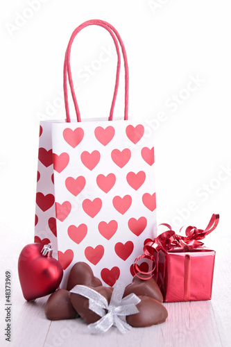 shopping bag with chocolate