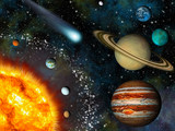 Fototapety Realistic 3D Solar System Wallpaper