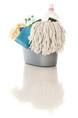 Cleaning items over white background