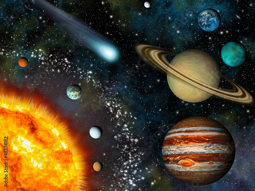 Leinwanddruck Bild Realistic 3D Solar System Wallpaper