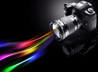 camera with colors background