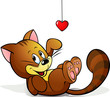 cute cat playing with heart decoration