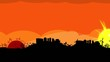 Orange sunset landscape sky travelling city panorama video