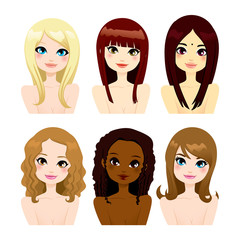 Multi-ethnic Women Long Hair