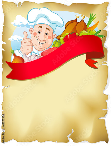 old paper background with chef and food
