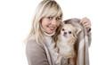 Pretty woman with small dog - Hübsche Frau trägt kleinen Hund