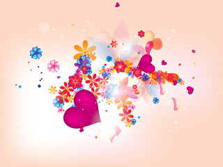 abstract floral heart background for vlentines day