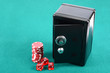 Poker gambling chips and steel safe