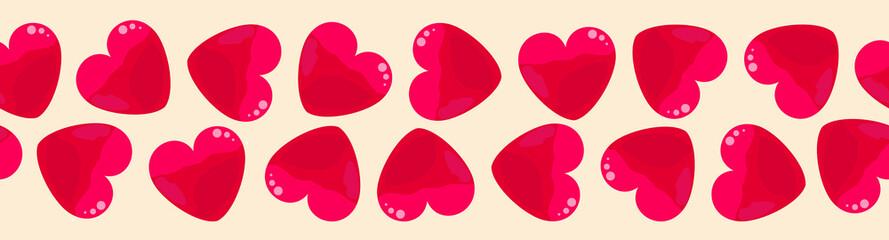 Seamless horizontal line of hearts