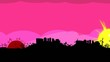 Pink sunset landscape travelling love city panorama video