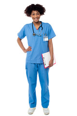 Full length portrait of young medical professional